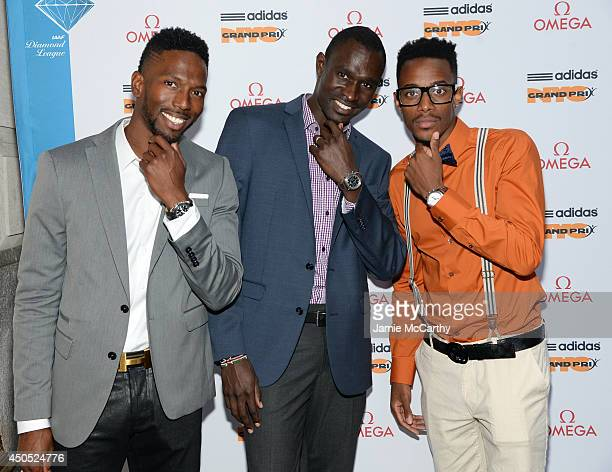 Olympic athletes Michael Tinsley David Rudisha and Tony McQuay attend the adidas Grand Prix celebration hosted by OMEGA at the OMEGA Fifth Avenue...