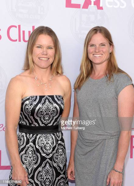 """Olympic athletes Michelle Eray and Maggie Hogan attend a Q&A session at a screening of Tom Donahue's documentary """"This Changes Everything"""" on July..."""