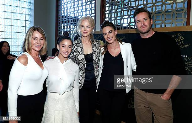 Olympic athletes Nadia Comaneci Aly Raisman actors Nicole Kidman Elizabeth Chambers and Armie Hammer attend Life is Good at GOLD MEETS GOLDEN Event...