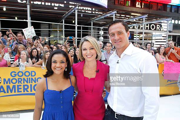 """Olympic athletes Ryan Lochte and Laurie Hernandez on """"Good Morning America,"""" 8/30/16, airing on the Walt Disney Television via Getty Images..."""