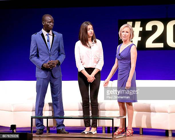 Olympic athletes Yiech Pur Biel and Yusra Mardini and Kathryn Bushkin Calvin, President and CEO of the United Nations Foundation, speak onstage at...