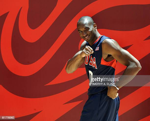 Olympic basketball player Kobe Bryant arrives for a press event at Rockefeller Center in New York on June 30, 2008 to display the uniforms provided...
