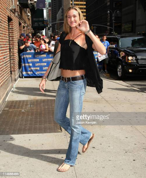 """Olympic beach volleyball gold medalist Kerri Walsh visits the """"Late Show with David Letterman"""" at the Ed Sullivan Theater August 27, 2008 in New York..."""