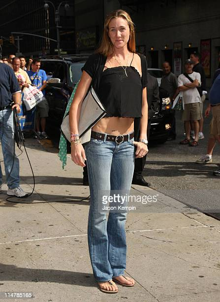 Olympic beach volleyball gold medalist Kerri Walsh visits the Late Show with David Letterman at the Ed Sullivan Theater August 27 2008 in New York...
