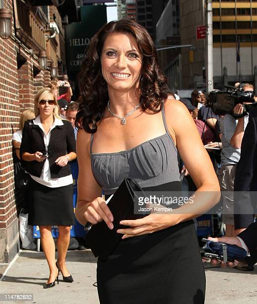 """Olympic beach volleyball gold medalist Misty May-Treanor visits the """"Late Show with David Letterman"""" at the Ed Sullivan Theater August 27, 2008 in..."""