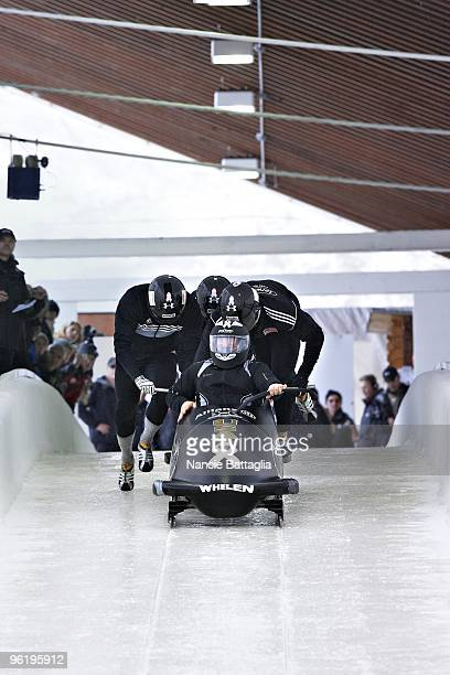 USA bobsled team Steve Holcomb Justin Olsen Steve Mesler and Curt Tomasevicz in action during four man run at Bobsled Track Lake Placid NY CREDIT...