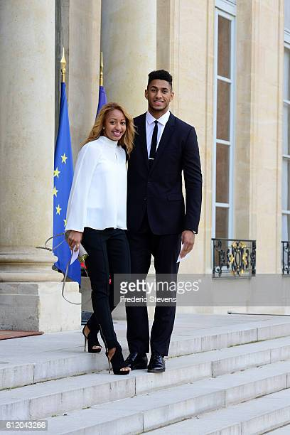 Olympic boxing champions Estelle Mossely and Tony Yoka arrive for lunch offered by the IOC President during his visit to Paris at Elysee Palace to...