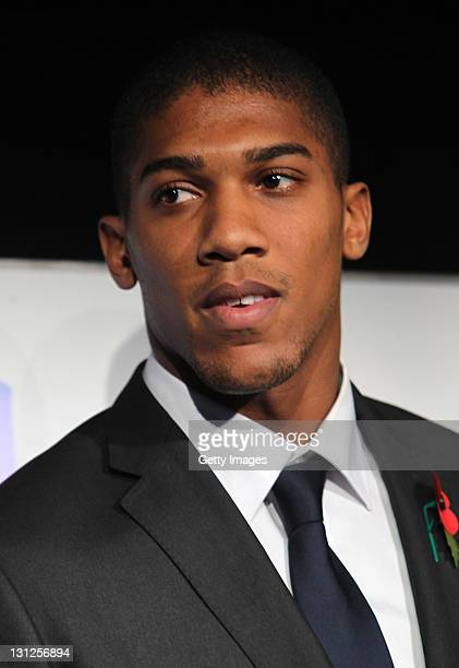 Olympic Boxing hopeful Anthony Joshua looks on during the Aviva and Daily Telegraph School Sport Matters awards at Twickenham Stadium on November 3...
