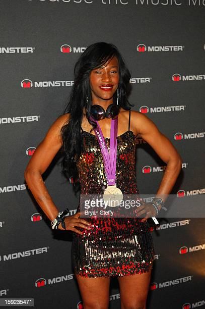 Olympic Bronze Medalist Kellie Wells arrives the Monster DNA 2013 Consumer Electronics Show at the Paris Las Vegas a on January 9 2013 in Las Vegas...