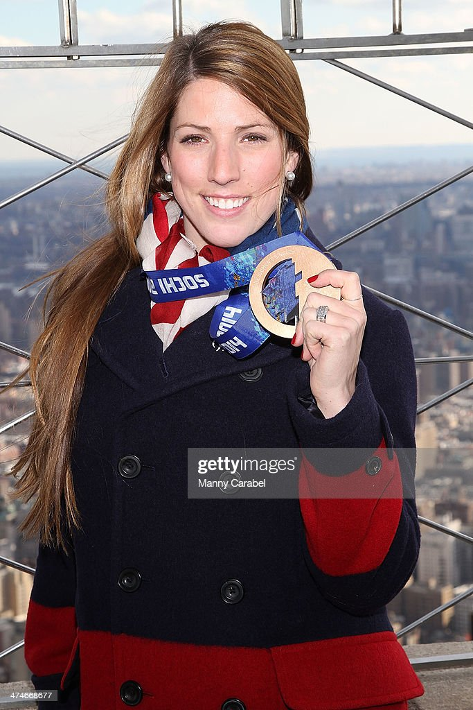 Olympic Bronze Medalist Luger Erin Hamlin visits The Empire State Building on February 24, 2014 in New York City.