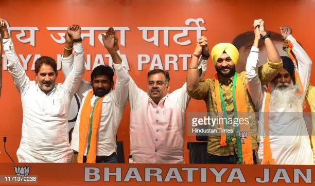 Olympic bronze medalist Yogeshwar Dutt , Former India Hockey team captain Sandeep Singh and Former Shiromani Akali Dal MLA Balkaur Singh join BJP ,...