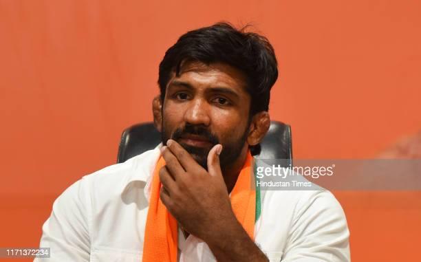 Olympic bronze medalist Yogeshwar Dutt joins BJP , at BJP headquarter on September 26, 2019 in New Delhi, India.