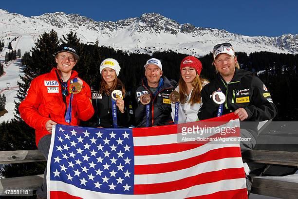 Olympic bronze medallist Julia Mancuso gold medallist Mikaela Shiffrin silver medallist Andrew Weibrecht bronze medallist Bode Miller and gold...