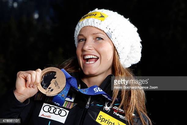 Olympic bronze medallist Julia Mancuso of the USA during a photo shoot with the US Ski Team Olympic alpine ski medalists on March 13 2014 in...