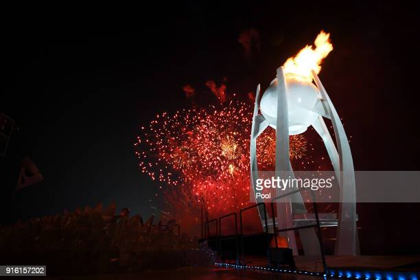Olympic Caludron is lit during the Opening Ceremony of the PyeongChang 2018 Winter Olympic Games at PyeongChang Olympic Stadium on February 9 2018 in...