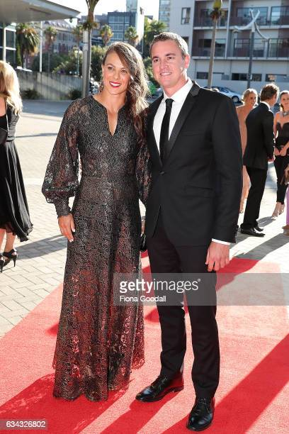 Olympic Canoeist Lisa Carrington and partner arrive at the 54th Halberg Awards at Vector Arena on February 9 2017 in Auckland New Zealand