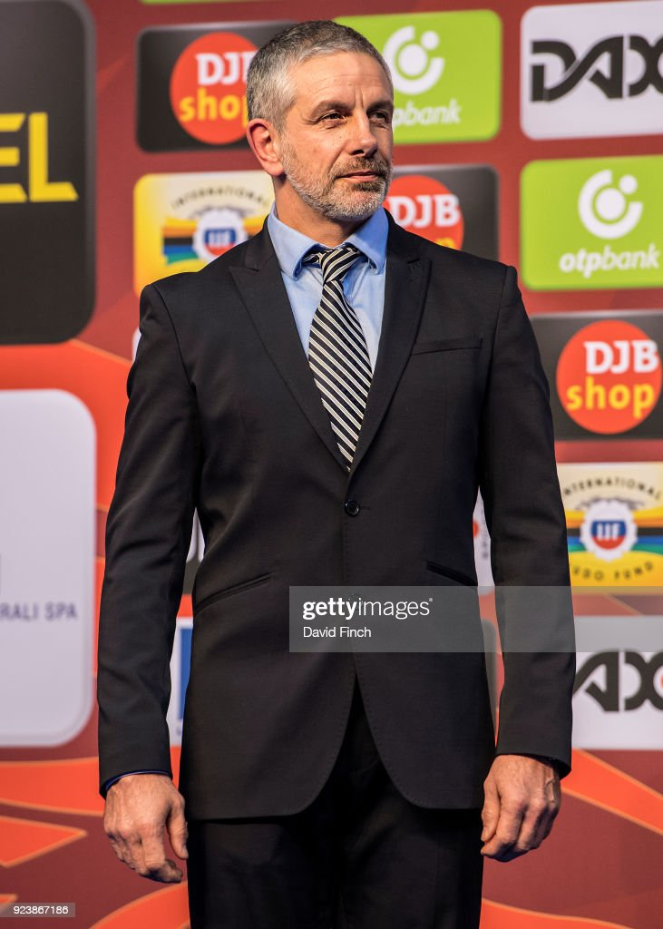 Olympic champion and 1988 silver medallist, Frank Wieneke of Germany presented the u73kg medals during the 2018 Dusseldorf Grand Slam (23-25 February) at the ISS Dome, Dusseldorf, Germany, on February 24, 2018.