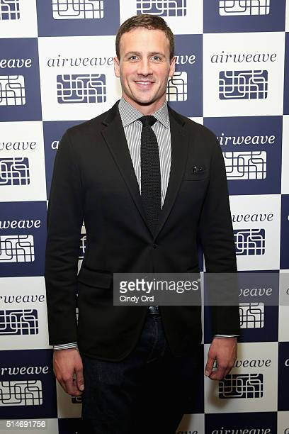 Olympic champion and airweave ambassador Ryan Lochte celebrates airweave's anniversary and advanced bedding technology on March 10 2016 in New York...