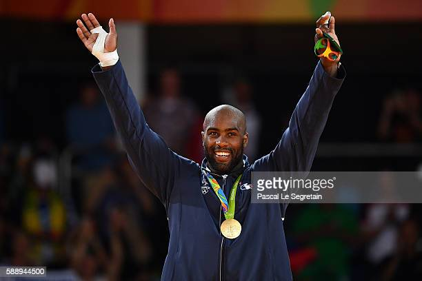 Olympic champion and gold medalist Teddy Riner of France is seen during the medal ceremony after winning Men's +100kg Judo final on Day 7 of the Rio...
