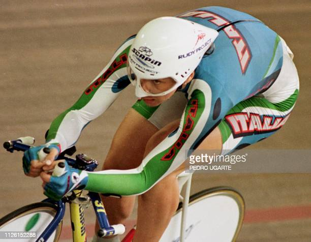 Olympic champion Antonella Belluti from Italy competes in the individual pursuit classification for the World Cup track cycling in Cali Colombia 24...