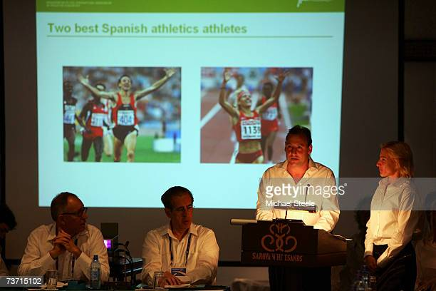 Olympic champion Fermin Cacho assisted by European champion Marta Dominguez present the Barcelona Bid for the IAAF World Campionships in Athletics on...