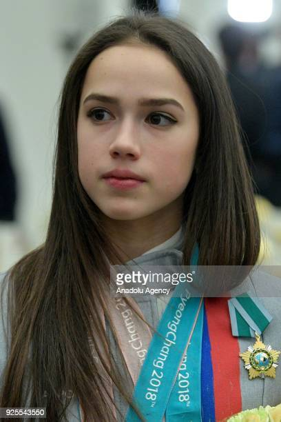 Olympic champion figure skater Alina Zagitova awarded an Order of Friendship at a reception after a ceremony to present state decorations to Russian...