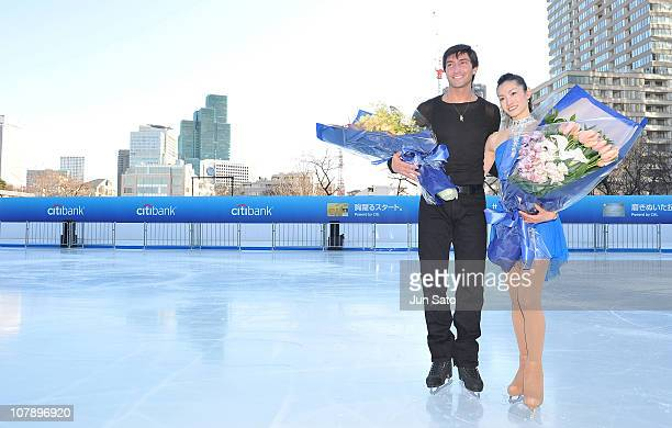 Olympic Champion figure skater Evan Lysacek and 2006 Olympic Champion figure skater Shizuka Arakawa pose for a photograph at the opening ceremony of...