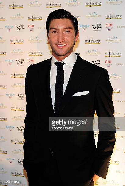 Olympic Champion for men's figure skating Evan Lysacek arrives for the Miss Universe 2010 pageant at Mandalay Bay Events Center on August 23 2010 in...