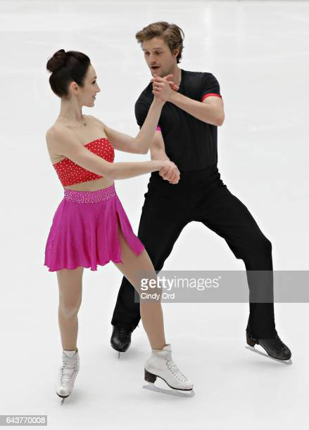Olympic champion ice dancers Meryl Davis and Charlie White visit The Rink at Rockefeller Center on February 22 2017 in New York City