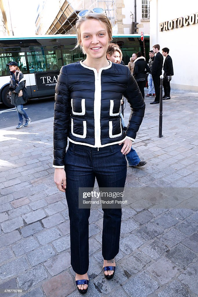 Olympic champion, Italian short track speed skater Arianna Fontana (dressed in Moncler) attend the Moncler Gamme Rouge show as part of the Paris Fashion Week Womenswear Fall/Winter 2014-2015 on March 5, 2014 in Paris, France.