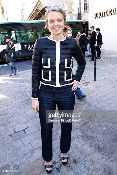 Olympic champion Italian short track speed skater Arianna Fontana attend the Moncler Gamme Rouge show as part of the Paris Fashion Week Womenswear...