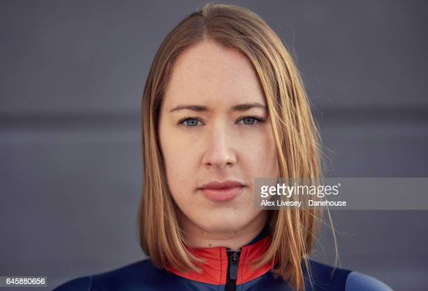 Olympic champion Lizzy Yarnold of Great Britain poses for a portrait on February 7 2017 in Portsmouth England February 9 2017 will mark one year to...