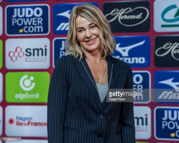 Olympic champion Nadia Comaneci of Romania presented the medals for the women's u70kg categori during the 2020 Paris Judo Grand Slam at the Accor...