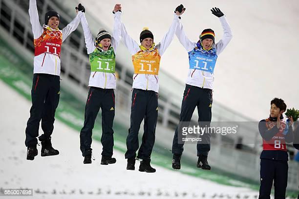 Olympic Champion Olympiasieger Goldmedalist Goldmedailiengewinner Mannschaft Deutschland Team Germany mit WANK Andreas KRAUS Marinus WELLINGER...