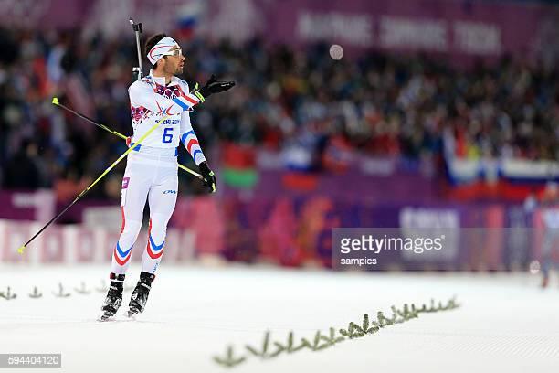 Olympic Champion Olympiasieger Goldmedalist Goldmedailiengewinner Martin Fourcade FRA Frankreich France Biathlon Pursuit Men 125 KM Verfolgunsgrennen...