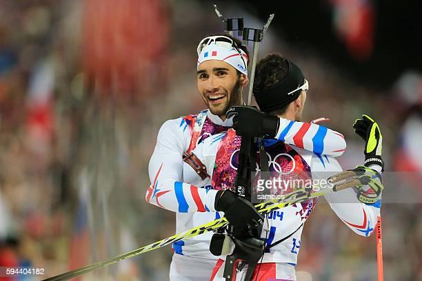 Olympic Champion Olympiasieger Goldmedalist Goldmedailiengewinner Martin Fourcade FRA Frankreich France Beatrix Jean 3 Biathlon Pursuit Men 125 KM...