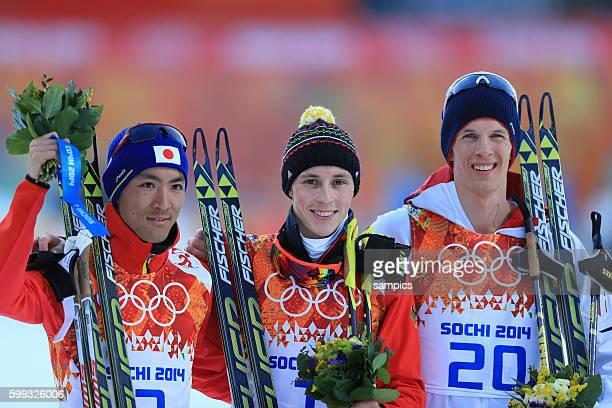 Olympic Champion Olympiasieger Goldmedalist Goldmedailiengewinner Eric FRenzel GER vor WATABE Akito und KROG Magnus Nordische Kombination nordic...