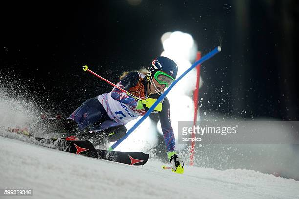 Olympic Champion Olympiasiegerin Goldmedalist Goldmedailiengewinnerin SHIFFRIN Mikaela USA alpin Ski Slalom Women Frauen in Rosa Khutor alpin centre...