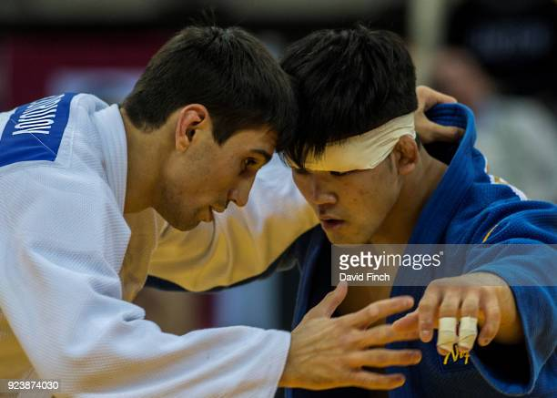 Olympic champion Shohei Ono of Japan defeated Rustam Orujov of Azerbaijan by an ippon to win the u73kg gold medal during the 2018 Dusseldorf Grand...