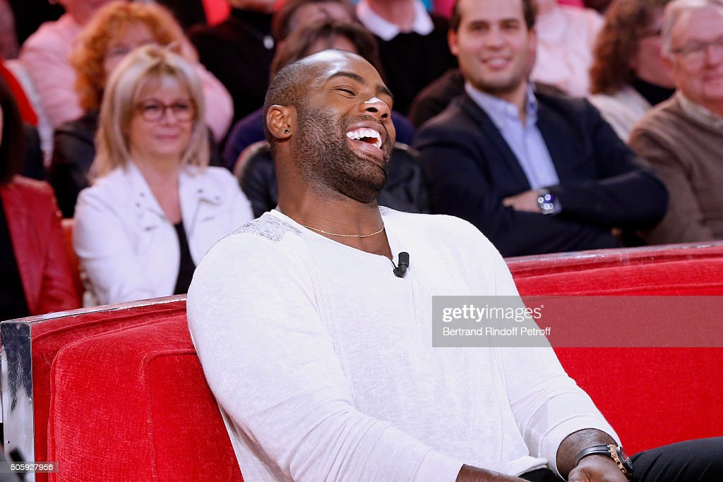 Olympic Champion Teddy Riner attends the 'Vivement Dimanche' French TV Show at Pavillon Gabriel on January 20, 2016 in Paris, France.