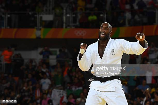 Olympic champion Teddy Riner of France reacts after winning the Men's +100kg Judo final match on Day 7 of the Rio 2016 Olympic Games at Carioca Arena...