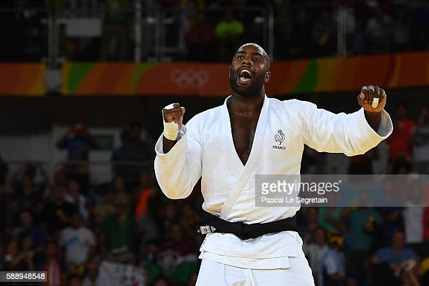 Olympic champion Teddy Riner of France reacts after winning the Men's 100kg Judo final match on Day 7 of the Rio 2016 Olympic Games at Carioca Arena...