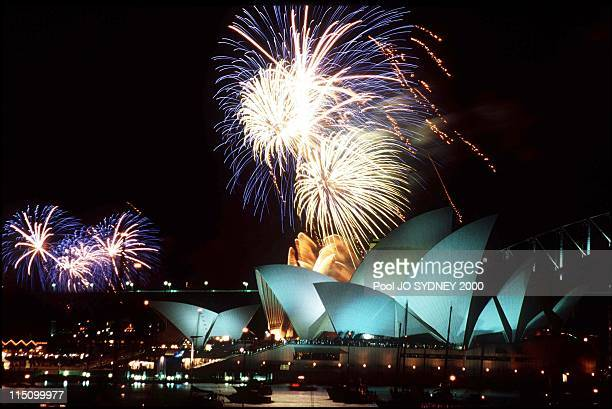 Olympic closing ceremony fireworks display over Sydney harbor and opera house in Sydney, Australia on October 01, 2000.