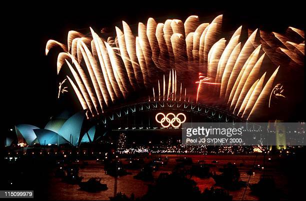 Olympic closing ceremony fireworks display over Sydney harbor and opera house in Sydney Australia on October 01 2000
