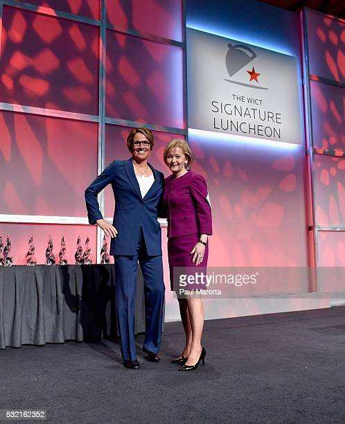 Olympic Correspondent and Tennis Analyst Mary Carillo and Martha Soehren Comcast speak during the WICT Signature Luncheon at Boston Convention and...
