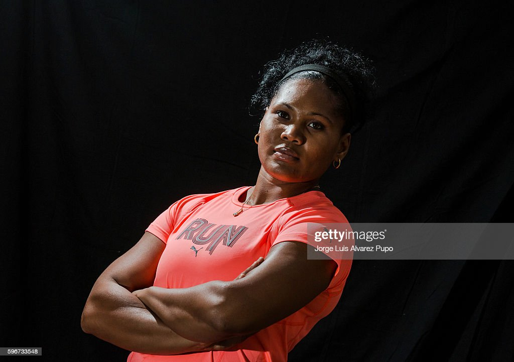 Olympic Cuban athlete Denia Caballero poses for a portrait during the Meeting AREVA of the IAAF Diamond League 2016 at Mercure Hotel on August 27, 2016 in Paris, France.