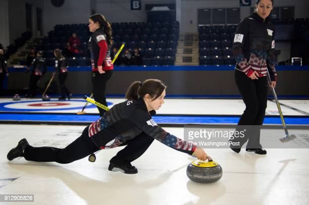 S Olympic curling team member Aileen Geving prepares to let go of a stone during practice at the Western Fair Sports Centre in London Ontario on...