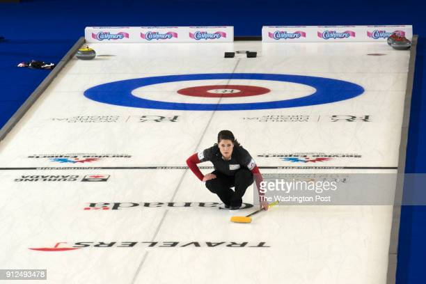 S Olympic curling team member Becca Hamilton center looks down the ice during practice at the Western Fair Sports Centre in London Ontario on January...