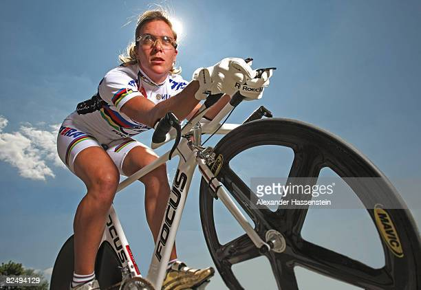 Olympic cyclist Hanka Kupfernagel is seen during a photo session on May 6 2008 in Freiburg Germany