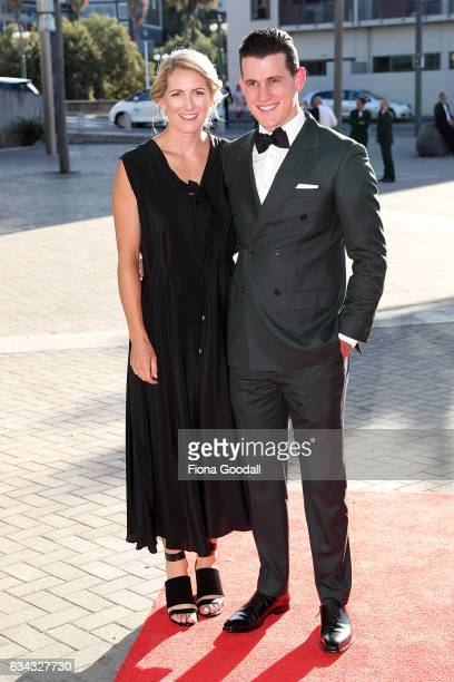 Olympic cyclist Sam Webster and partner arrive at the 54th Halberg Awards at Vector Arena on February 9 2017 in Auckland New Zealand